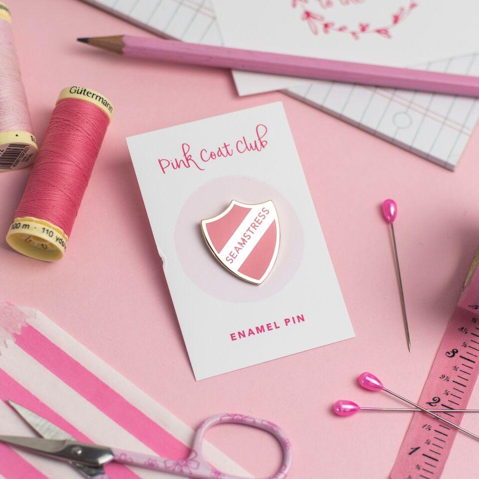 Seamstress Enamel Pin Badge in Baby Pink