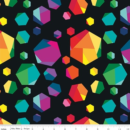 Geo Gems Black from the Create collection by Riley Blake Designs, 100% Modern Cotton Fabric
