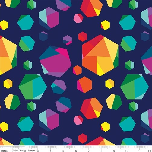Geo Gems Navy from the Create collection by Riley Blake Designs, 100% Modern Cotton Fabric