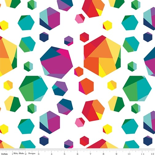 Geo Gems White from the Create collection by Riley Blake Designs, 100% Modern Cotton Fabric