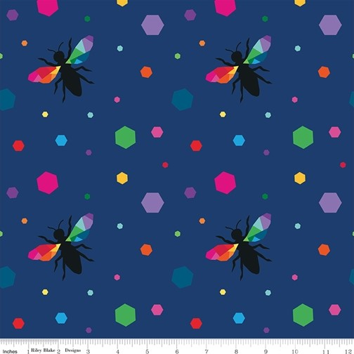 Hexie Bees Navy from the Create collection by Riley Blake Designs, 100% Modern Cotton Fabric