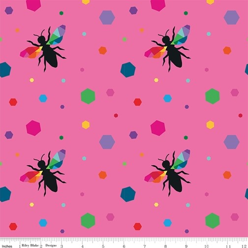 Hexie Bees Pink from the Create collection by Riley Blake Designs, 100% Modern Cotton Fabric