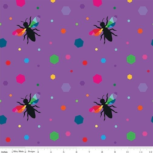 Hexie Bees Purple from the Create collection by Riley Blake Designs, 100% Modern Cotton Fabric