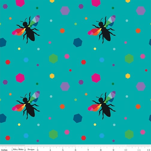 Hexie Bees Turquoise from the Create collection by Riley Blake Designs, 100% Modern Cotton Fabric