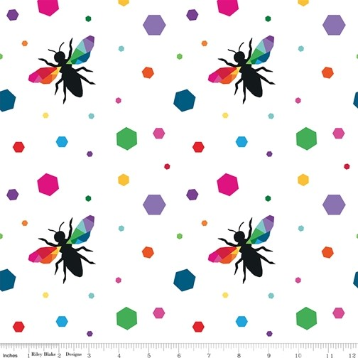Hexie Bees White from the Create collection by Riley Blake Designs, 100% Modern Cotton Fabric