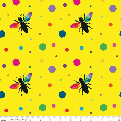 Hexie Bees Yellow from the Create collection by Riley Blake Designs, 100% Modern Cotton Fabric