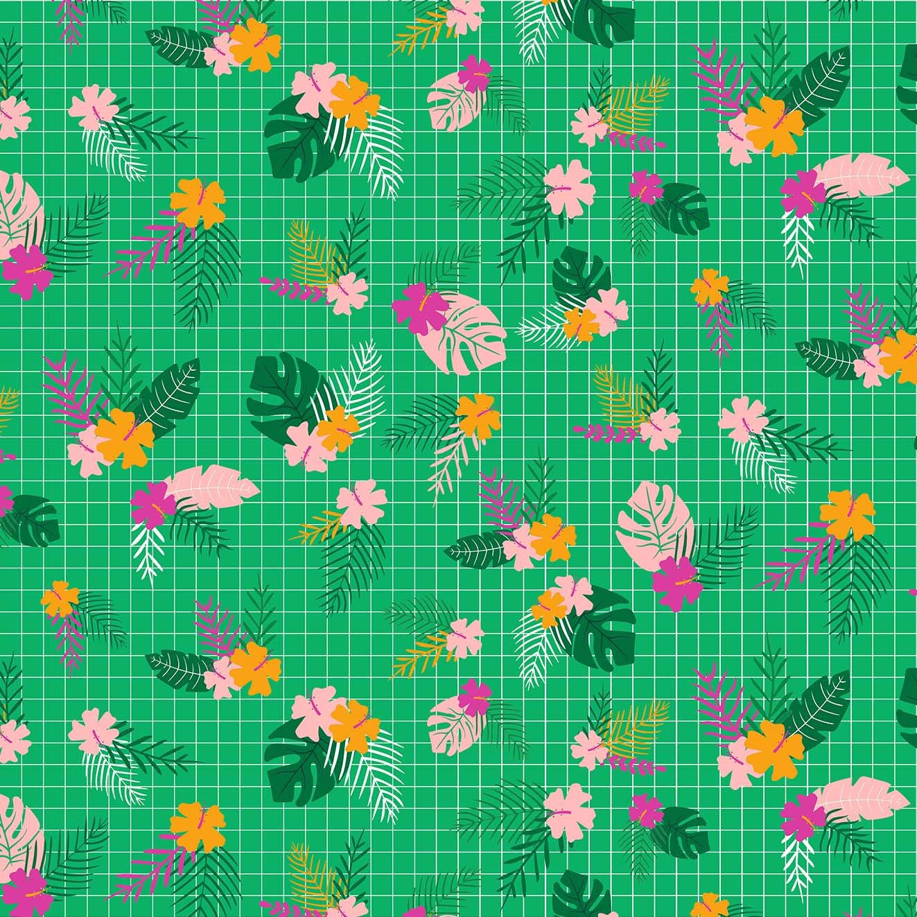 Jungle Leaves Green from the Tropical Jammin' collection by Figo Fabrics, 100% cotton fabric