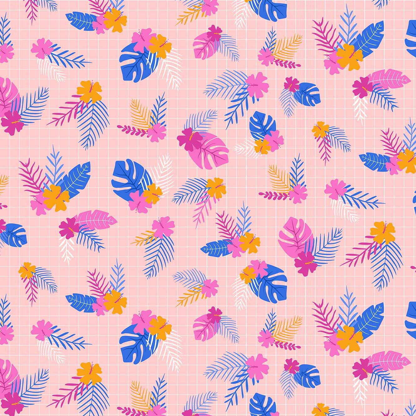 Jungle Leaves Pink from the Tropical Jammin' collection by Figo Fabrics, 100% cotton fabric