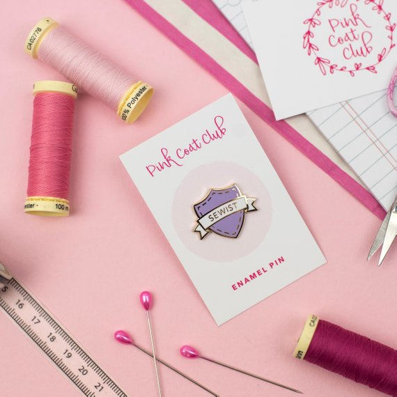 Sewist Enamel Pin Badge in Lilac
