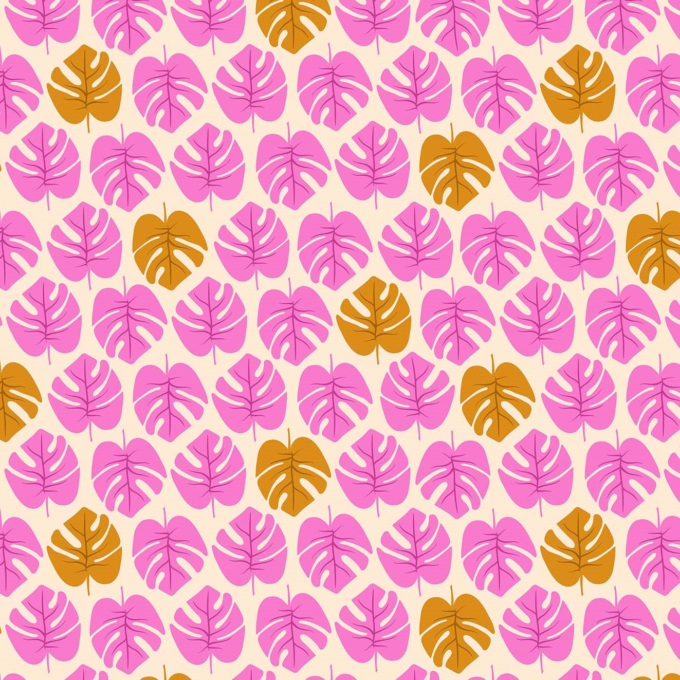 Monstera Pink from the Tropical Jammin' collection by Figo Fabrics, 100% cotton fabric