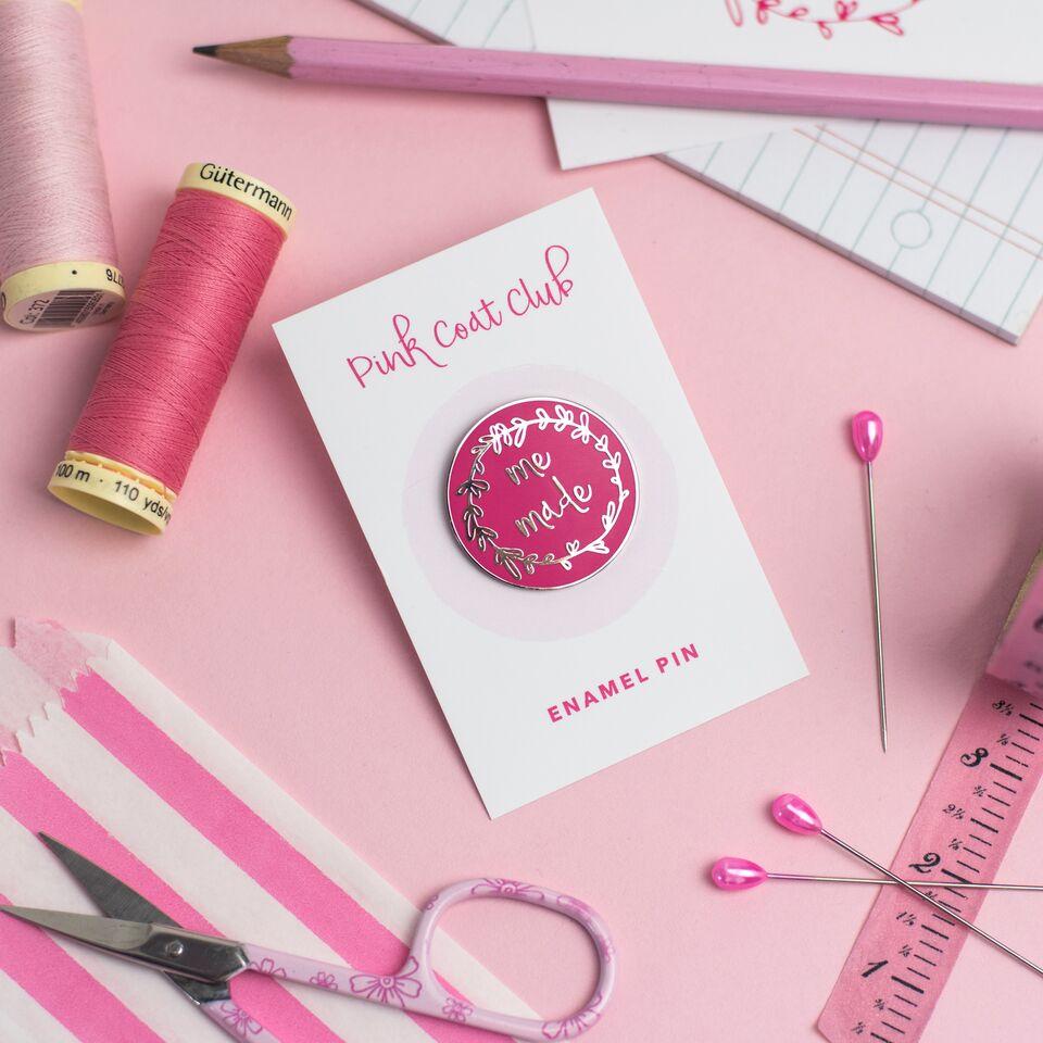 Me Made Enamel Pin Badge in Pink